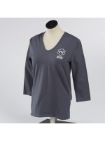 Ladies 3/4 Sleeve V-Neck Tee - Grey